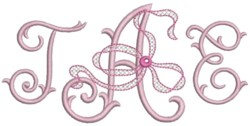 three letter monogram machine embroidery design perfect for wedding monograms !