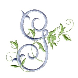 G Machine Embroidery Design Alphabet Script Rose Leaves Scroll Abc A B C Letter Lettering Monogram Monogramming Art