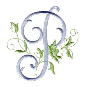 P Machine Embroidery Design Alphabet Script Rose Leaves Scroll Abc A B C Letter Lettering Monogram Monogramming Art