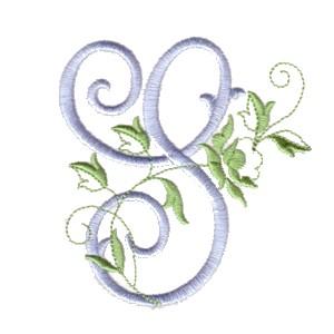 S Machine Embroidery Design Alphabet Script Rose Leaves Scroll Abc A B C Letter Lettering Monogram Monogramming Art