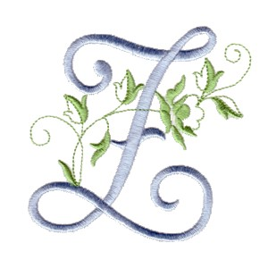 Z Machine Embroidery Design Alphabet Script Rose Leaves Scroll Abc A B C Letter Lettering Monogram Monogramming Art