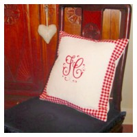 gingham monogrammed cushion pillow splendor monogram white silk needlepassion needle passion embroidery npe ltd machine embroidery designs free samples