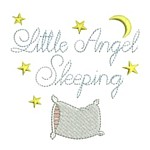Little Angel Sleeping script lettering with pillow moon and stars machine embroidery design from http://www.needlepassionembroidery.com