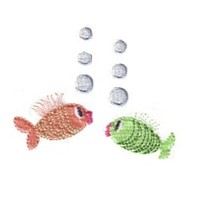cute fish with bubbles baby attitude machine embroidery design needle passion embroidery npe
