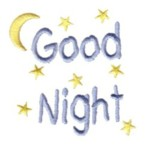 good night letterinfg stars moon machine embroidery design