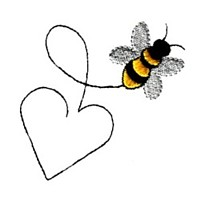 love bumble bee with heart shaped trail heart valentine machine embroidery design darling by needle passion embroidery