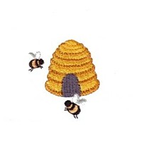 bumble bees at a beehive honey machine embroidery design needle passion embroidery