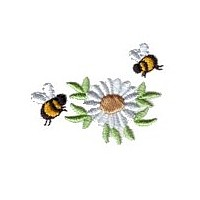 machine embroidery design daisy fun bumble bees summer art pes hus dst needle passion embroidery npe