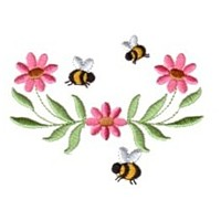 daisy flower scroll with bees machine embroidery design fun bumble bees summer art pes hus dst needle passion embroidery npe