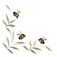 leaves scroll corner machine embroidery design fun bumble bees summer art pes hus dst needle passion embroidery npe