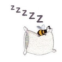 bumble bee sleeping on a pillow zzz machine embroidery design fun bumble bees summer art pes hus dst needle passion embroidery npe