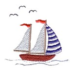 Sail boat and seagulls machine embroidery design from http://www.needlepassionembroidery.com
