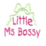 Little Ms Bossy lettering with bow machine embroidery design from http://www.needlepassionembroidery.com