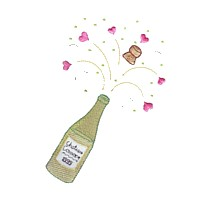 machine embroidery design champagne bottle cork popping hearts love wedding heart party art pes hus dst needle passion embroidery npe
