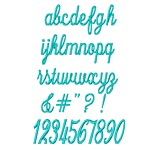 Lower case script alphabet machine embroidery designs from http://www.needlepassionembroidery.com