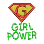 machine embroidery design girl power girlpower superman logo girly design