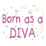 born as a diva lettering machine embroidery design girl girls rule diva girly queen crown confetti lettering text slogan art pes hus dst needle passion embroidery npe