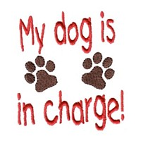 my dog is in charge lettering with dog paws machine embroidery design pet doggy paws needle passion embroidery npe