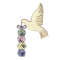 dove carrying baby building blocks machine embroidery design designs needle passion emrboidery npe