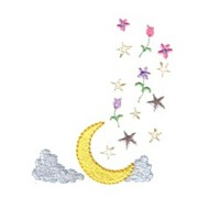 celestial moon clouds stars machine embroidery fairy dust girls magic stuff confetti lettering design art pes hus dst needle passion embroidery npe