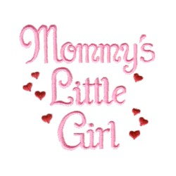 Mommys Little Girl Lettering With Hearts