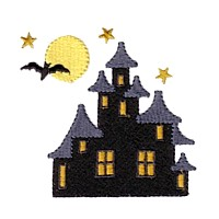 machine embroidery design haunted house bat moon halloween scary spooky art pes hus jef dst exp needle passion embroidery npe needlepassion