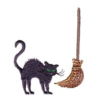 machine embroidery design witch's cat and broom stick broomstick halloween art pes hus jef dst exp needle passion embroidery npe needlepassion