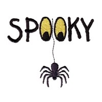machine embroidery design spooky lettering with eyes and spider tarantula hanging halloween art pes hus jef dst exp needle passion embroidery npe needlepassion