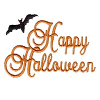 machine embroidery design happy halloween script lettering with a black bat art pes hus jef dst exp needle passion embroidery npe