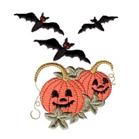 machine embroidery design halloween pumpkins with faces and bats art pes hus jef dst exp needle passion embroidery npe needlepassion