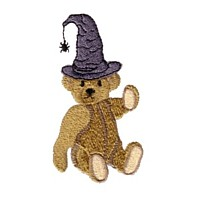 machine embroidery design cute teddy bear with witch's hat and spider baby baby's halloween art pes hus jef dst exp needle passion embroidery npe needlepassion
