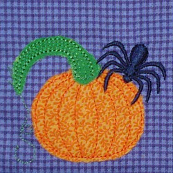 applique pumpkin spider tarantula machine embroidery design raw edge