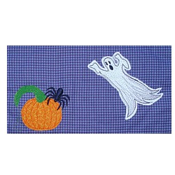 applique ghost and pumpkin spider machine embroidery design