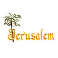 Jerusalem lettering with palm tree leaves Easter design needle passion embroidery needlepassion npe ltd machine embroidery design