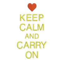 keep calm and carry on lettering with heart british war time poster machine embroidery design