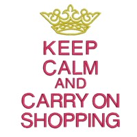 keep calm and carry on shopping lettering british war time poster machine embroidery design