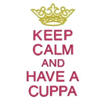 keep calm and have a cuppa lettering british war time poster machine embroidery design