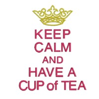 keep calm and have a cup of tea lettering british war time poster machine embroidery design