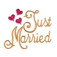 just married script lettering machine embroidery design love wedding heart art pes hus dst needle passion embroidery npe