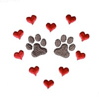 paws in heart shaped border dog machine embroidery design pet doggy paws needle passion embroidery npe