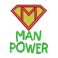 man pwer manpower superman logo sign saying lettering machine embroidery design