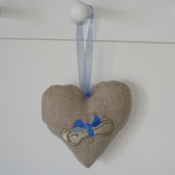dog bone in a bow padded heart hanging ornament made in the machine embroidery hoop lavender filled linen heart needle passion embroidery npe