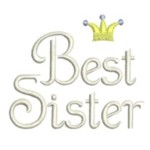 machine embroidery best sister lettering with crown from http://www.needlepassionembroidery.com
