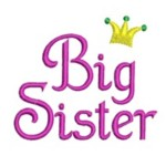 Big Sister machine embroidery lettering with crown from http://www.needlepassionembroidery.com