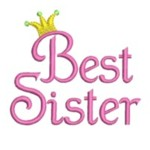 best sister lettering machine embroidery with crown from http://www.needlepassionembroidery.com