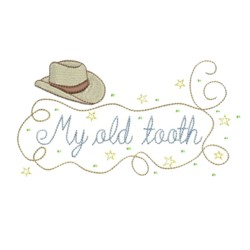 cowboy hat machine embroidery design my old tooth lettering with rope boy's tooth fairy design