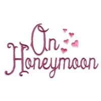 on honeymoon script lettering with hearts machine embroidery design love art pes hus dst needle passion embroidery npe