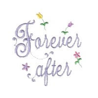 forever after script lettering with small flowers machine embroidery design love wedding heart party art pes hus dst needle passion embroidery npe
