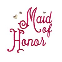 maid of honor script lettering machine embroidery design love wedding heart party best friend art pes hus dst needle passion embroidery npe