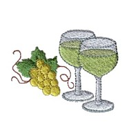 two wine glasses with bunch of grapes machine embroidery design beverage alcohol drink grapes grape vine grapevine art pes hus dst needle passion embroidery npe